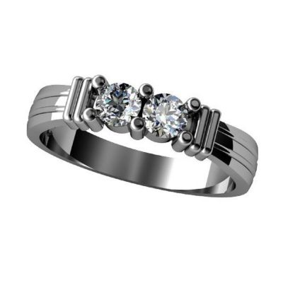 Shared Prong Couples 2 Stone Ring w/Simulated Birthstones Sterling Silver, 10K or 14K Gold