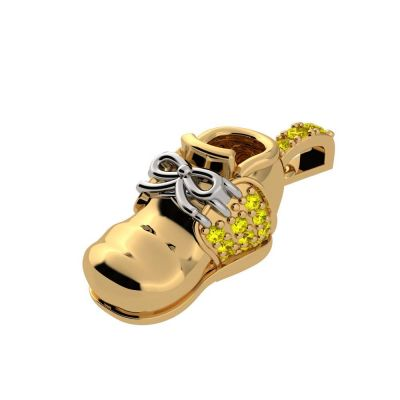 NANA Jewels Birthstone Baby Shoe Necklace Pendant w/Swarovski Zirconia - Gold Plated Silver, 10K Solid Gold or 14K Solid Gold