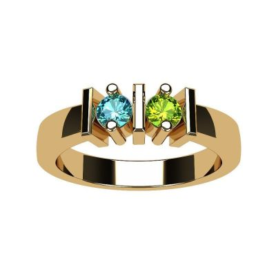Straight Bar Couples 2 Stone Ring w/Simulated Birthstones in Silver, 10K or 14K Gold
