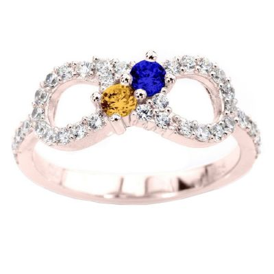 Infinity Couples 2 Stone Ring w/Simulated Birthstones in Silver, 10K or 14K Solid Gold