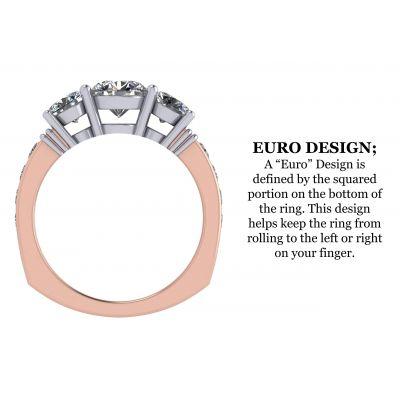 3 Stone Past, Present, & Future Ring w/ 2.50ctw Swarovski Zirconia in 10K or 14K Gold