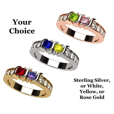 S-Bar w/Sides Couple's Ring with Simulated Birthstones in Sterling Silver, 10K or 14K Solid GOLD