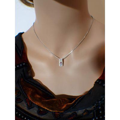 Princess Cut Couples 2 Stone Pendant Necklace w/ Swarovski Zirconia on 3 Sides & Simulated Birthstones