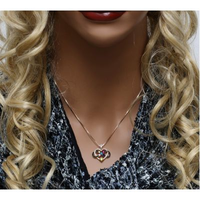 NANA Jewels Infinity Love Mother & Child Necklace w/ 1-5 Simulated Birthstones in Silver, 10K, or 14K Gold (B)