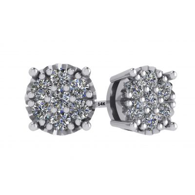 Sterling Silver & CVD Diamonds 7 stone Cluster Earrings with 14k Gold Post