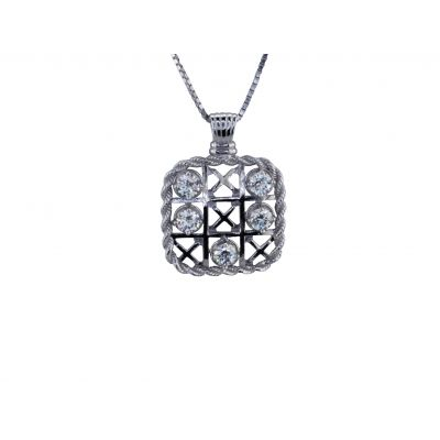 Sterling Silver TIC-TAC-TOE Pendant Necklace